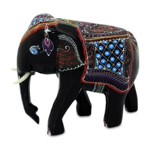 Lacquered Raintree 'Young Thai Elephant' Wood Figurine , Handmade in Thailand
