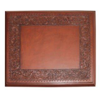Handcrafted Mohena Wood Leather 'Hacienda Home' Accent Table (Peru)