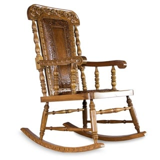 Handmade Mohena Wood and Leather 'Royal Colonial' Rocking Chair (Peru)