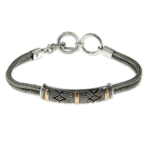 Gold Accented Sterling Silver 'Naga's Mystery' Bracelet (Indonesia)
