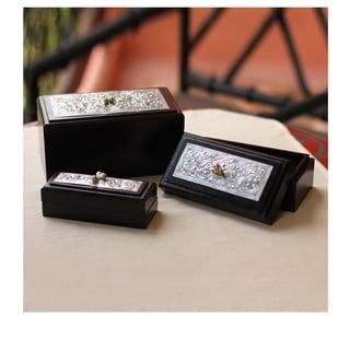 Handmade Set Of 3 Rain Tree Wood 'Royal Flora' Boxes (Thailand)
