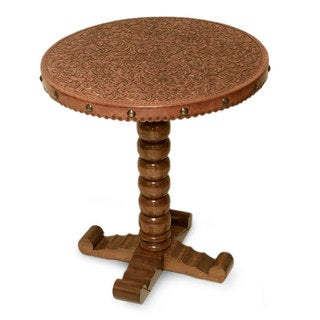 Handmade Cedar Wood Leather 'Floral' End Table (Peru)