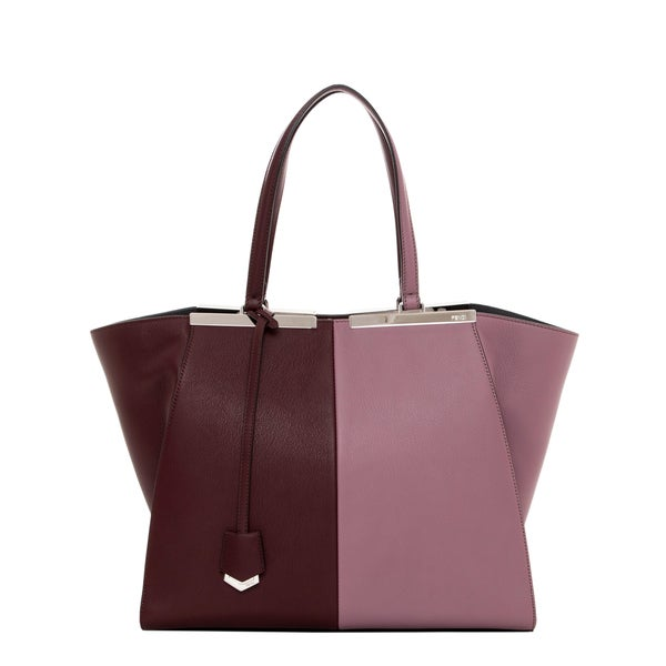Fendi '3Jours' Large Plum Bi-color Leather Shopper