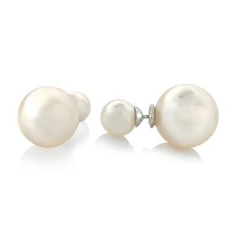 Glitzy Rocks Front And Back Faux Pearl Stud Earrings