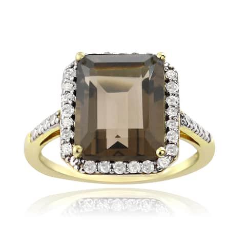 Glitzy Rocks Gold Over Silver 1/4ct TDW Diamond Smokey Quartz Cocktail Ring (G-H, I2-I3)