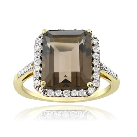 Glitzy Rocks Gold Over Silver 1/4ct TDW Diamond Smokey Quartz Cocktail Ring (G-H, I2-I3)