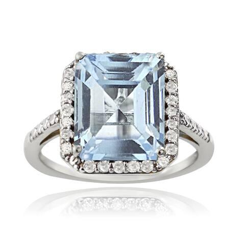 Glitzy Rocks Sterling Silver 1/4ct TDW Diamond Blue Topaz Cocktail Ring (G-H, I2-I3)