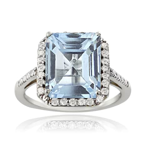 Glitzy Rocks Sterling Silver 1/4ct TDW Diamond Blue Topaz Cocktail Ring (G-H, I2-I3)