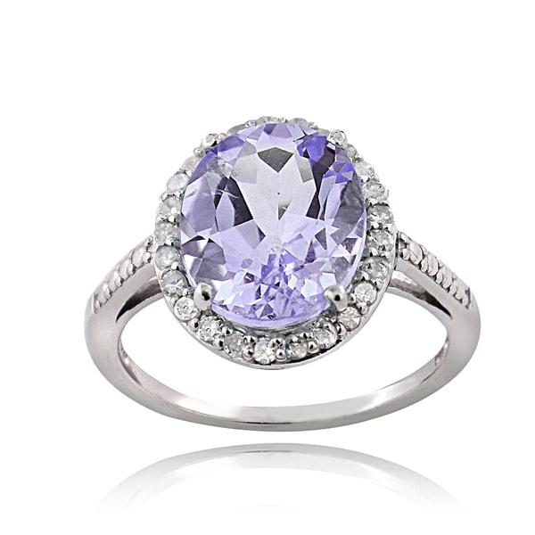 Glitzy Rocks Sterling Silver 1/4ct TDW Diamond Amethyst Cocktail Ring (G-H, I2-I3)