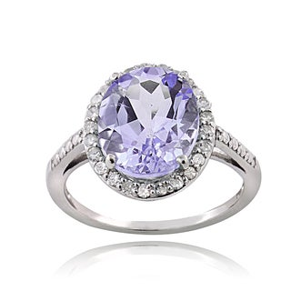 Glitzy Rocks Sterling Silver 1/4ct TDW Diamond Amethyst Cocktail Ring (G-H, I2-I3)