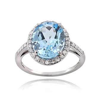 Glitzy Rocks Sterling Silver 1/4ct TDW Diamond Blue Topaz Cocktail Ring