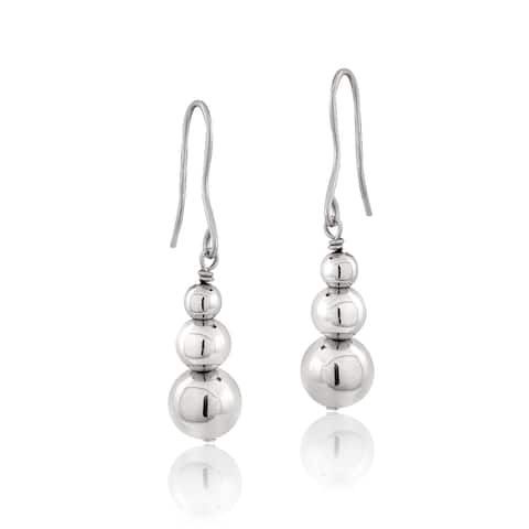 Mondevio Sterling Silver Graduating Journey Beads Dangle Drop Earrings, 3 Colors