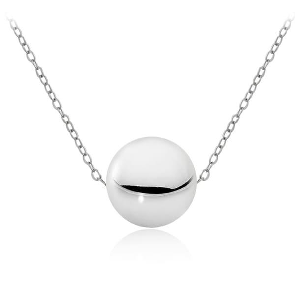 Mondevio Silver 12mm Ball Bead Necklace