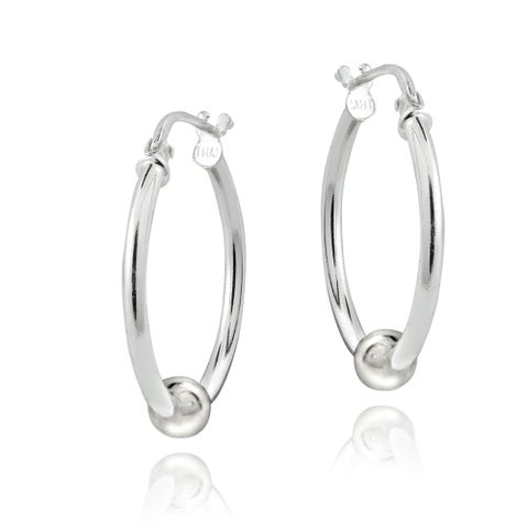 Mondevio Sterling Silver Bead Hoop Earrings, 20mm