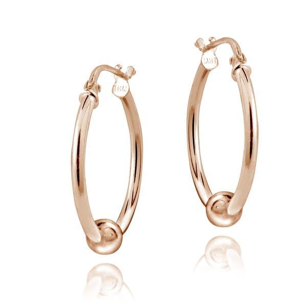 b757f90b9bf60 Shop Mondevio Sterling Silver Bead Hoop Earrings, 20mm - On Sale ...