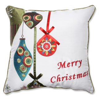 Merry Christmas Ornaments Red/ Green 16.5-inch Throw Pillow