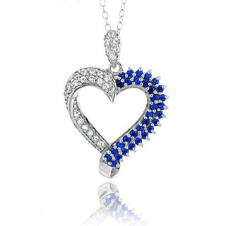 Link to Glitzy Rocks Sterling Silver Created Sapphire Heart Necklace Similar Items in Necklaces