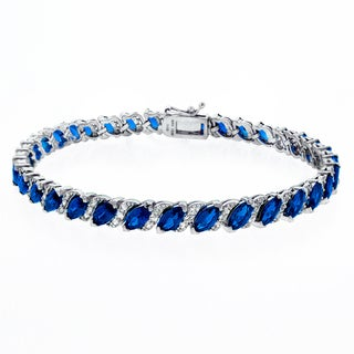 Link to Glitzy Rocks Sterling Silver 13 1/8ct TGW Created Gemstone Bracelet Similar Items in Bracelets