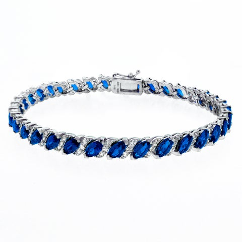 Glitzy Rocks Sterling Silver 13 1/8ct TGW Created Gemstone Bracelet