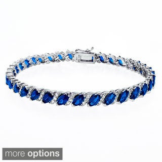 Glitzy Rocks Sterling Silver 13 1/8ct TGW Created Gemstone Bracelet (2 options available)