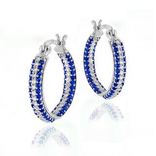Glitzy Rocks Sterling Silver Created Sapphire Inside Out Hoop Earrings