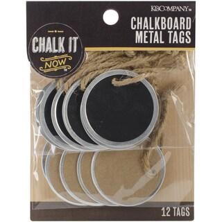 Chalk It Now Metal Edge Circle Tags 12/Pkg-Chalkboard & Kraft