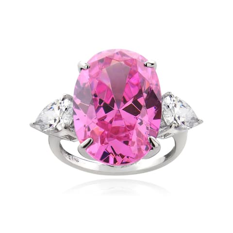 ICZ Stonez Sterling Silver 19 1/5ct TGW Multi-color Cubic Zirconia Ring
