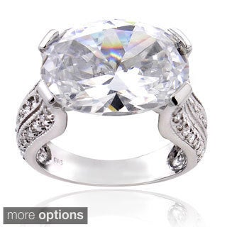 ICZ Stonez Sterling Silver 16 3/8ct TGW Cubic Zirconia Ring