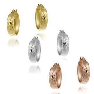 Mondevio Silver Hoop Earrings Set (Set of 3)