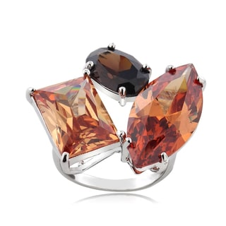 ICZ Stonez Sterling Silver 36 1/2ct TGW Multi-color Cubic Zirconia Ring