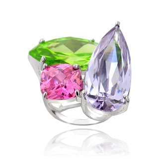 ICZ Stonez Sterling Silver 9 1/2ct TGW Multi-color Cubic Zirconia Ring