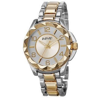 August Steiner Women's Pyramid Pattern Bezel Quartz Two-Tone Bracelet Watch