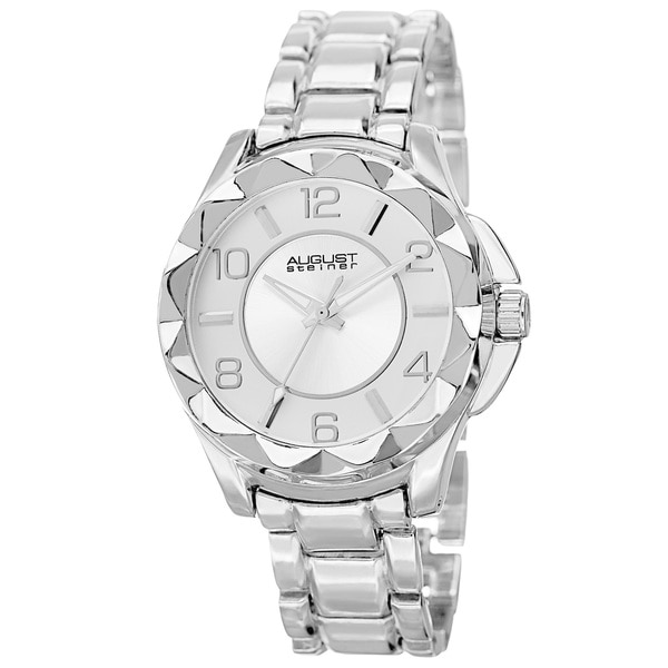 August Steiner Women's Pyramid Pattern Bezel Quartz Silver-Tone Bracelet Watch