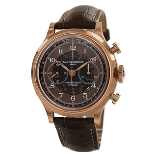 Baume & Mercier Men's MOA10087 'Capeland' Brown Dial Brown Leather Strap Rose Gold Automatic Watch