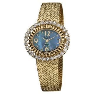 Burgi Women's Mother of Pearl Diamond Mesh Blue Bracelet Watch