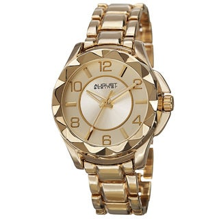 August Steiner Women's Pyramid Pattern Bezel Quartz Gold-Tone Bracelet Watch with FREE GIFT