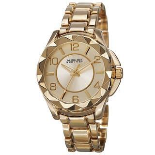 August Steiner Women's Pyramid Pattern Bezel Quartz Gold-Tone Bracelet Watch with FREE GIFT|https://ak1.ostkcdn.com/images/products/9649170/P16832413.jpg?impolicy=medium