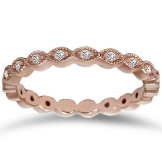 14k Rose Gold 1/ 3ct TDW Vintage Diamond Eternity Band (I-J, I2-I3)
