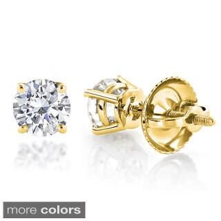 Luxurman 14k Gold 3/4ct TDW Diamond Stud Earrings