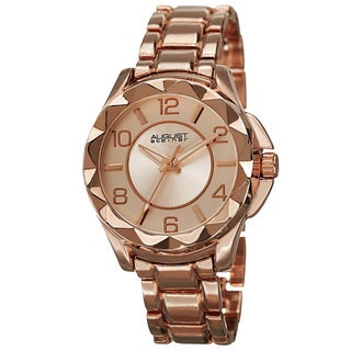 August Steiner Women's Pyramid Pattern Bezel Quartz Rose-Tone Bracelet Watch