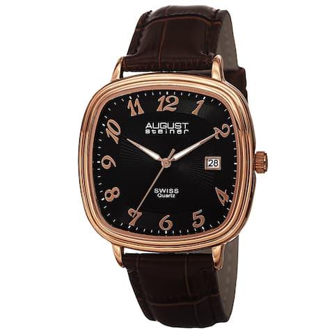 August Steiner Men's Swiss Quartz Etched Pattern Dial Leather Rose-Tone Strap Watch