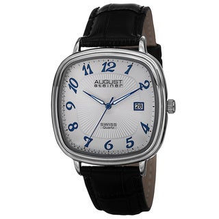 August Steiner Men's Swiss Quartz Etched Pattern Dial Leather Silver-Tone Strap Watch