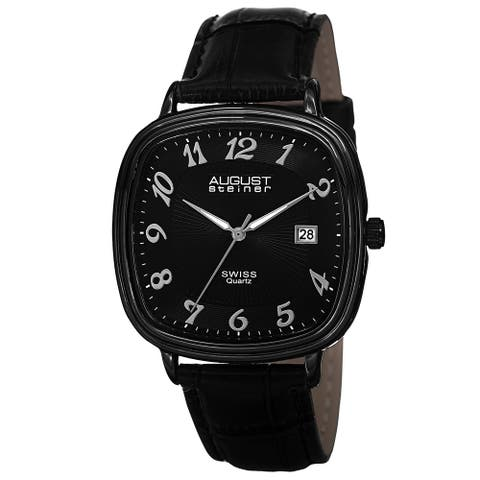August Steiner Men's Swiss Quartz Etched Pattern Dial Leather Black Strap Watch