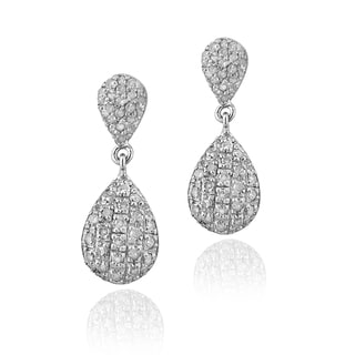 DB Designs Sterling Silver 7/8ct TDW White Diamond Teardrop Earrings (I-J, I2-I3)