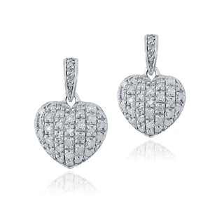 DB Designs Sterling Silver 3/4ct TDW White Diamond Heart Earrings