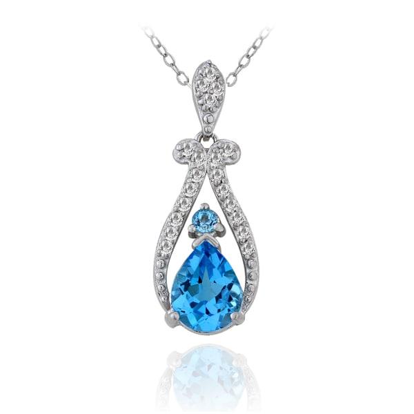 Glitzy Rocks Sterling Silver 1/5ct TDW Diamond Swiss Blue Topaz Teardrop Necklace