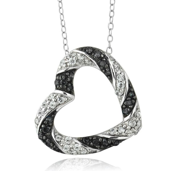 DB Designs Sterling Silver 1/2ct TDW Black and White Diamond Heart Necklace