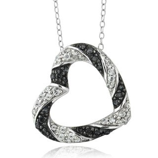DB Designs Sterling Silver 1/2ct TDW Black and White Diamond Heart Necklace (I-J, I2-I3)