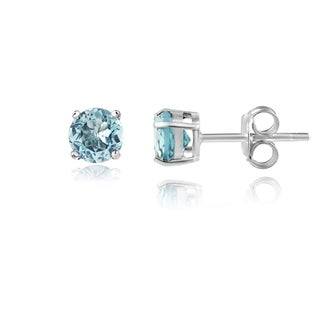 Glitzy Rocks Sterling Silver 3/5ct TGW Blue Topaz 4 mm Round Stud Earrings
