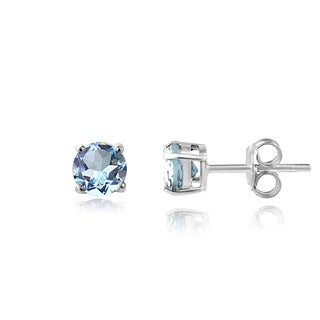 Glitzy Rocks Sterling Silver 3/5ct TGW Swiss Blue Topaz 4mm Round Stud Earrings